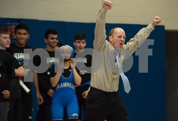 12/13/17 Wesley Bunnell | Staff Plainville wrestling defeated Newington Wednesday evening at Plainville High School. Plainville Head coach Rusty Spence.