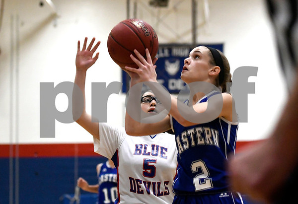 12/14/2017 Mike Orazzi | Staff Bristol Eastern's Paige McLaughlin (2) during Thursday night's girls basketball game with Plainville.