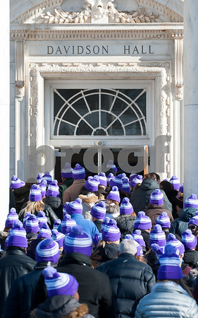 12/14/17 Wesley Bunnell   Staff Almost 500 people gathered in the shape of a heart outside of Davidson Hall on CCSU's campus wearing purple hats with the hashtag #CCSULoveWins in honor of Ana Grace on the 5th anniversary of the Sandy Hook shootings. The crowd wearing purple hats enter Davidson Hall at the conclusion of the event.