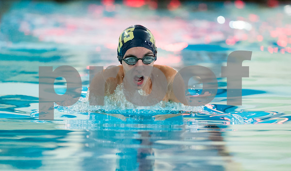 12/19/17 Wesley Bunnell   Staff Newington boys swimming defeated Manchester 94-69 on Tuesday afternoon at Newington High School. Nicholas Jirku completes in the 100m breast stroke.