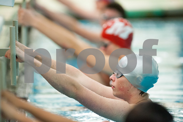 12/19/17 Wesley Bunnell   Staff Newington boys swimming defeated Manchester 94-69 on Tuesday afternoon at Newington High School. Sean Abrams of Newington prepares to compete in the 100m backstroke.
