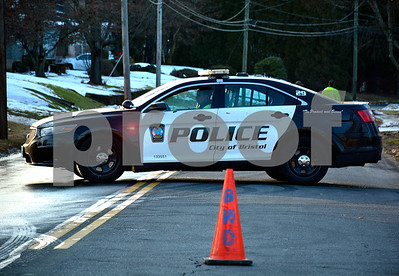 12/19/2017 Mike Orazzi | Staff Divinity Street blocked off after a watermain break in Bristol Tuesday afternoon.