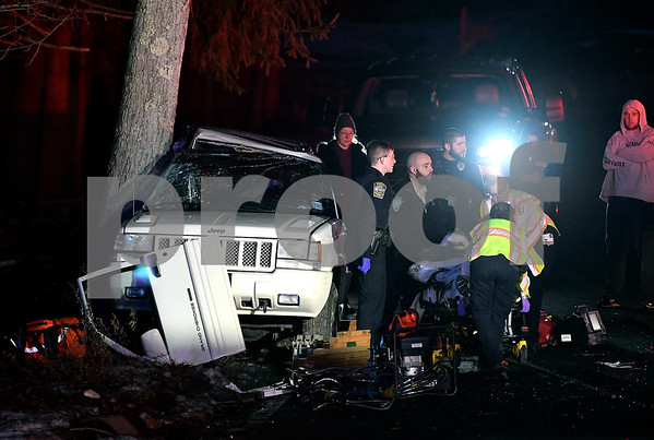 12/19/2017 Mike Orazzi   Staff The scene of a one vehicle crash on Willis Street near the Wolcott line in Bristol Tuesday evening.