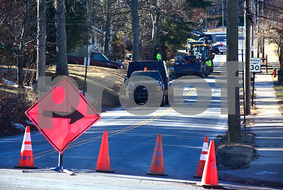 12/21/2017 Mike Orazzi | Staff A water main break being repaired on East Street in Bristol Thursday afternoon.