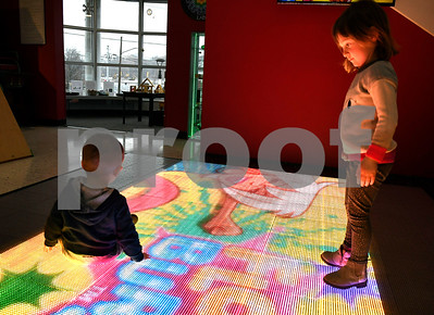 12/23/2017 Mike Orazzi | Staff Members of the Powers family, Al, Emily, Maston, 16 months and Adie, 3 years, while at the Imagine Nation, A Museum Early Learning Center, on a icy Saturday morning in Bristol.