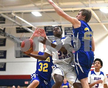 12/28/2017 Mike Orazzi | Staff Plainville's Dane Stephens (30) during the Rybczyk Memorial Holiday Basketball Tournament at Plainville High School Thursday afternoon.