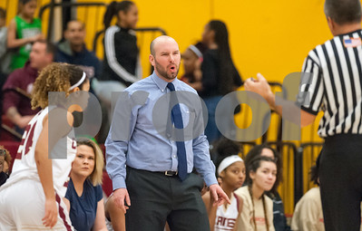 12/29/17  Wesley Bunnell | Staff  New Britain basketball was defeated by visiting Wilbur Cross 56-28 on Friday evening at New Britain High School. Head Coach Marc Wesoly reacts to an officials call.