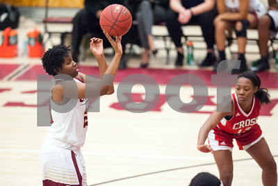 12/29/17  Wesley Bunnell | Staff  New Britain basketball was defeated by visiting Wilbur Cross 56-28 on Friday evening at New Britain High School. Tianna Sweeney (23) at the free throw line after being fouled.