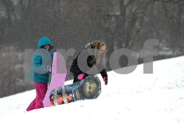 12/30/2017 Mike Orazzi | Staff Hannah Shea and Ava Bellantuono while sledding at Nelson's Field in Bristol Saturday.