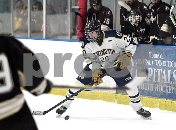12/30/2017 Mike Orazzi | Staff Newington's Spencer Pryzbek (20) at the Newington Ice Arena Saturday.