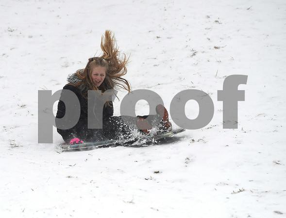 12/30/2017 Mike Orazzi | Staff Ava Bellantuono while sledding at Nelson's Field in Bristol Saturday.