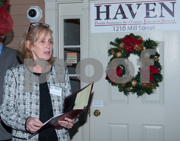 12/07/17 Wesley Bunnell | Staff HAVEN held a ribbon cutting at its new location in Berlin on Thursday afternoon to mark its relocation from Southington. Maureen Dinnan speaks to the guests before the ceremony.