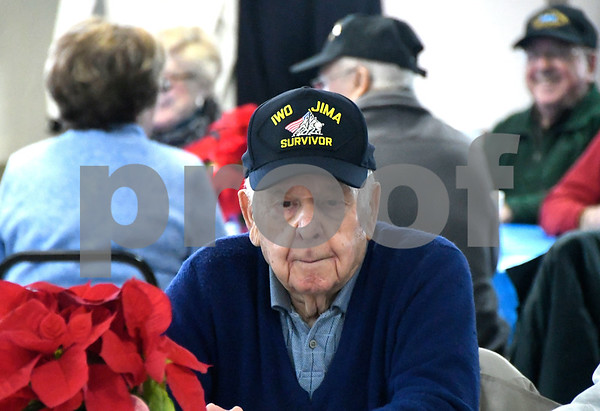 12/7/2017 Mike Orazzi | Staff Iwo Jima Survivor Joe Caminiti during the Pearl Harbor Day at Bristol American Legion Thursday morning.