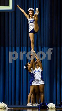 12/9/2017 Mike Orazzi | Staff Central Connecticut State University Cheerleaders during Saturday's women's basketball game with Yale University in New Britain.