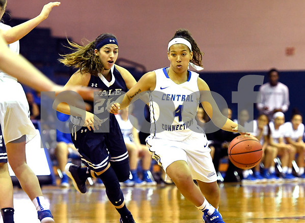 12/9/2017 Mike Orazzi | Staff CCSU's Kiana Patterson (4) and Yale University's Roxy Barahman (21) during women's hoops in New Britain.
