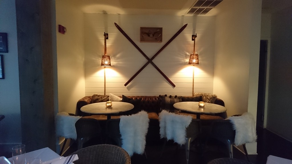 ski decor inside a restaurant