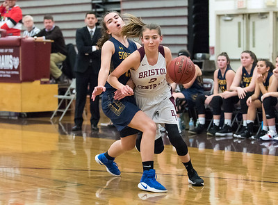 12/10/18  Wesley Bunnell | Staff  Bristol Central basketball vs Simsbury on the first game of the season on Monday night at Bristol Central High School. Alison Jessie (2).