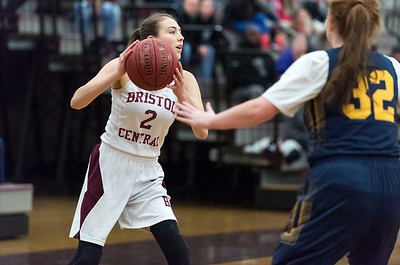 12/10/18  Wesley Bunnell | Staff  Bristol Central basketball vs Simsbury on the first game of the season on Monday night at Bristol Central High School. Jessie Alison (2).