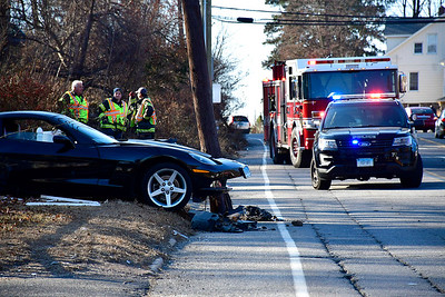 12/11/2018 Mike Orazzi | Staff The scene of a one-vehicle crash on Route 6 eastbounnd between Oakland Street and Page Avenue Tuesday afternoon.
