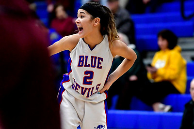 12/13/2018 Mike Orazzi | Staff Plainville High School's Samantha Lozefski (2) during Thursday night's basketball game with Bristol Central at PHS.