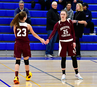 12/13/2018 Mike Orazzi | Staff Bristol Central's Ella Watson (23) and Ashley Watson (25)  during Thursday night's basketball game at PHS.