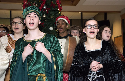 12/18/18  Wesley Bunnell | Staff  The New Britain High School Madrigal Singers visited 1 Liberty Square on Tuesday afternoon to perform. Nick Giantonio & Leah Gaffney.