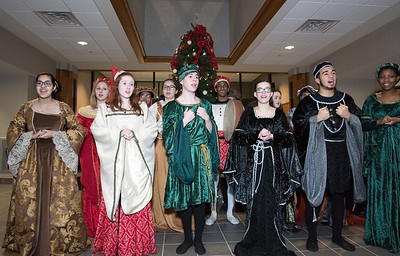 12/18/18  Wesley Bunnell | Staff  The New Britain High School Madrigal Singers visited 1 Liberty Square on Tuesday afternoon to perform. Ariana Soto, L, Claire Palin, Nick Giantonio, Leah Gaffney, Manuel Benitez and Kimberly Holder.
