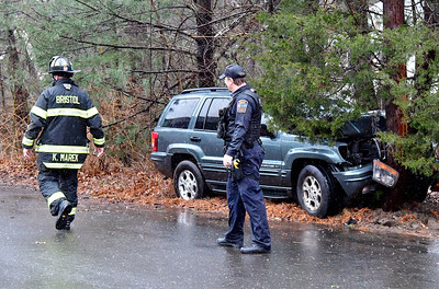12/21/2018 Mike Orazzi | Staff The scene of a one-vehicle crash on Eastwood Road in Bristol during Friday's rain storm. No injuries were reported.