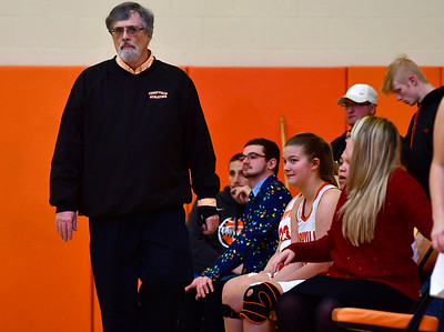 12/21/2018 Mike Orazzi | Staff Terryville Girls Basketball Coach Tom Morgan during Friday night's girls basketball game with Litchfield in Plymouth.