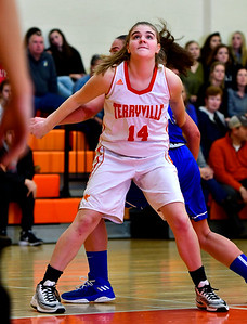 12/21/2018 Mike Orazzi | Staff Terryville's Taylor Barnett (14)  during Friday night's girls basketball game with Litchfield in Plymouth.