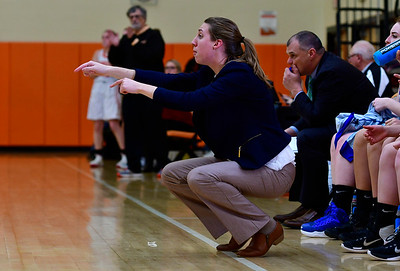 12/21/2018 Mike Orazzi | Staff Litchfield Girls Basketball Head Coach Paige Young during Friday night's basketball game with Terryville in Plymouth.