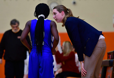 12/21/2018 Mike Orazzi | Staff Litchfield's Jeremina Prenoveau (2) and head coach Paige Young during Friday night's girls basketball game with Terryville in Plymouth.