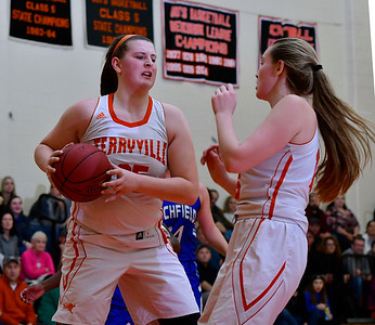 12/21/2018 Mike Orazzi | Staff Terryville's Lauren Jacobs (25) grabs a rebound during Friday night's girls basketball game with Litchfield in Plymouth.