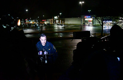 12/28/2018 Mike Orazzi | Staff Plainville Police Sgt. Mark Connoy gives an update after a man was taken into custody by an area SWAT team Friday after a report of a man with a gun was seen in the area. The gun was plastic and the suspect was being treated at an area hospital for non-life threatening injuries.
