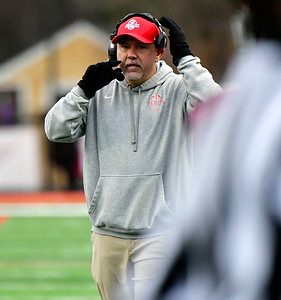 12/8/2018 Mike Orazzi | Staff Berlin's Head Football Coach  Joe Aresimowicz during Saturday's Class M Football State Football Championship with St. Joesph at Shelton High School. St. Joseph won St. Joseph 70 to 18.