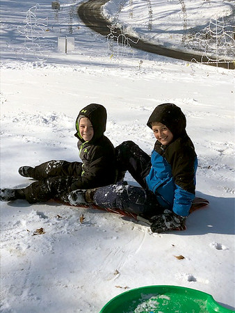 Brady and Ian McDaniel had a blast sledding at Community Park in Effingham Tuesday. <br /> Submitted by Heather McDaniel