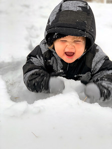 Truman playing in the snow for the first time. It's safe to say he had a great time and likes the taste of it! Submitted by Rachel Anderson