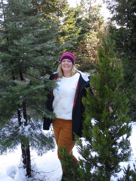 Meredith with our trees.