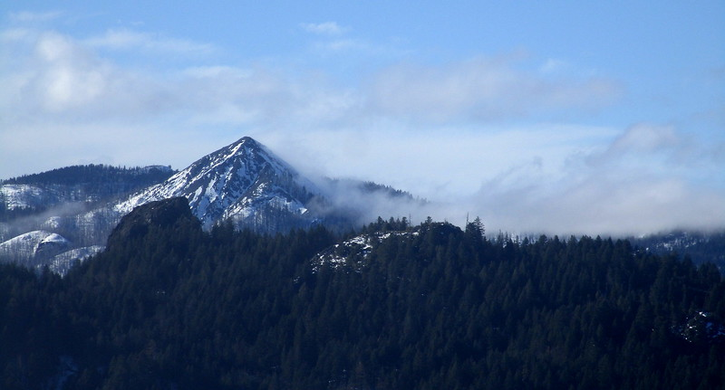 We drove out Hwy 36 to the South Fork Mountain pass, about 50 miles east of Eureka.  This is 'Black Lassic', a well known peak and landmark visible from the pass.