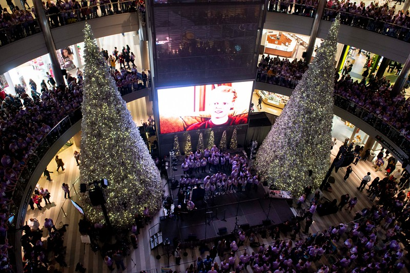 Participants gather before the start of the annual Clouds' Choir for a Cause event at the Mall of America on Friday, Jan. 13, 2019. (Jack Rodgers / Pioneer Press)