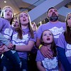 "From left, Alizabeth (6), Makenna (18), Anastyn (7), Steve and Abigail (9) Ludwig sing ""Clouds"" during the annual Clouds' Choir for a Cause event at the Mall of America on Friday, Jan. 13, 2019. (Jack Rodgers / Pioneer Press)"