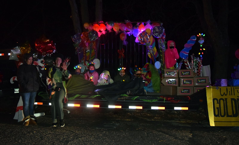 The Girl Scouts float was filled with Wonka Bars and other sweet treats at the Willy Wonka and The Christmas Factory themed drive through Parade of Lights presented by the Logan County Chamber of Commerce Thursday, Dec. 3, 2020, at Pioneer Park.