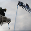 Firefighters battle blaze at Tork's Auto Service in the East Conemaugh suburb of Johnstown, PA., Thursday, Dec.21, 2017.