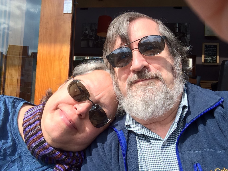 <big>This dual-selfie was taken in Leiden, The Netherlands on a bitterly cold May day - we spent a few vacation days there after Eliot's short courses in Groningen.</big>