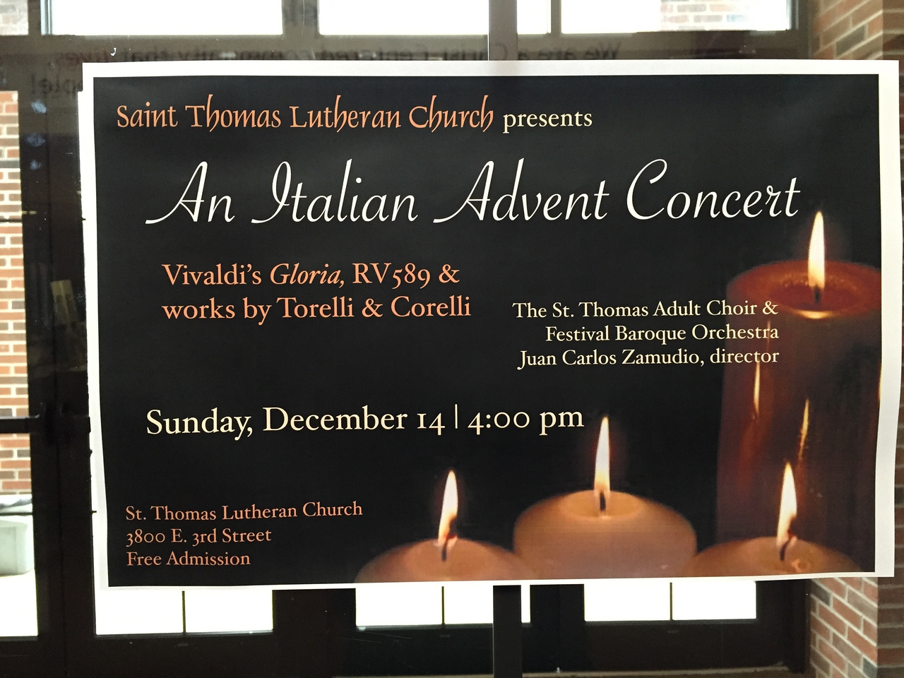 <big>Another choral adventure, at our church: an Advent concert featuring the Vivaldi Gloria, with two fabulous soloists and a great group of players on Baroque instruments. Eliot hassled Pamela until she joined the church choir with him, where she is a restful source of comic relief.</big>