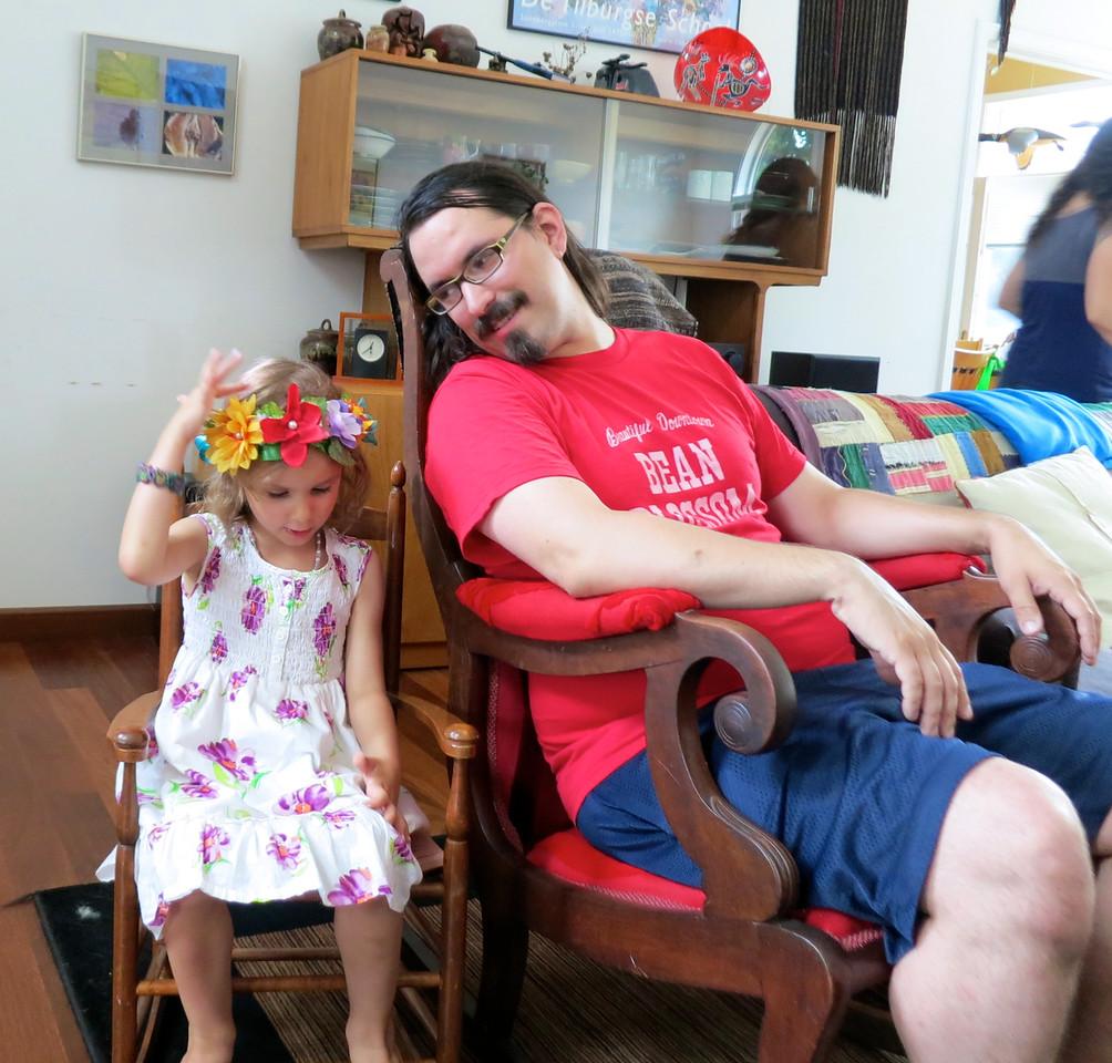 <big>Charming the socks off her Uncle Thomas...</big>