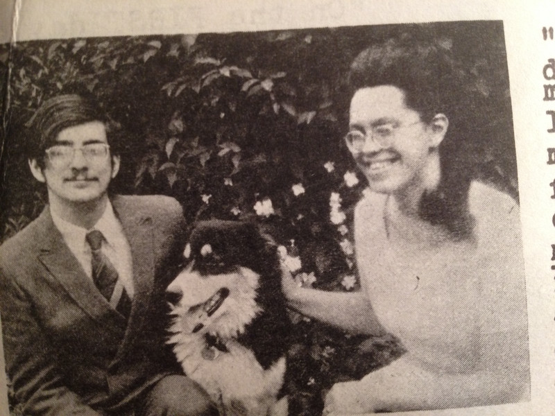 <big>OMG! Did you know these people? This photo was taken by Pamela's mother around 1971. Fred the Dog is long gone, but Eliot and Pamela Smith are still enjoying one another's company in Bloomington, Indiana and sending you our warmest holiday greetings.</big>