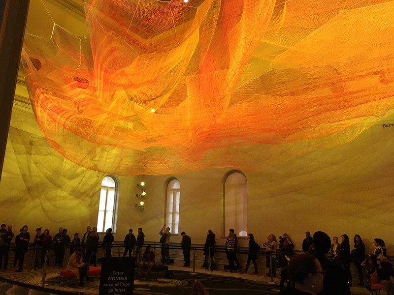 "The four of us, along with a zillion other people, went to the Renwick Gallery's WONDER exhibit of invited works celebrating the redesigned and renewed exhibit space. These radiant clouds are by Janet Echelman. Much more info & pix here: <a href=""http://renwick.americanart.si.edu/WONDER"">http://renwick.americanart.si.edu/WONDER</a>"