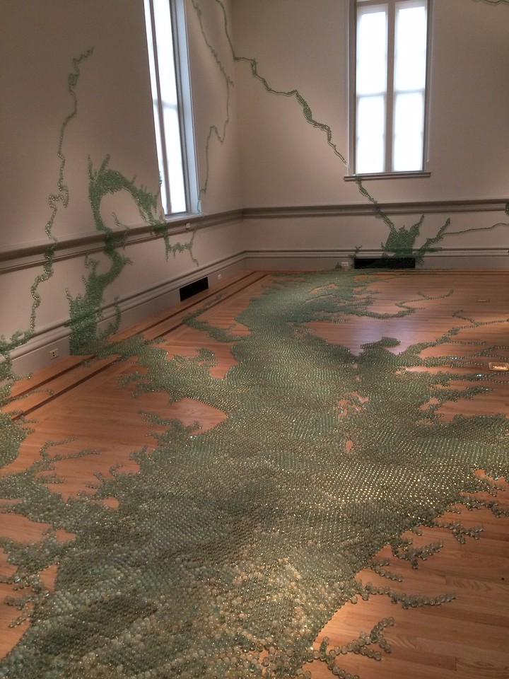 Maya Lin re-created the Chesapeake watershed in glass beads.