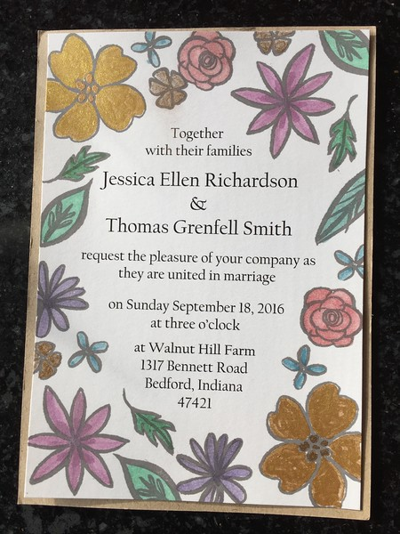 In their free time, Jessica and Thomas made these hand-painted wedding invitations. Mighty sweet.